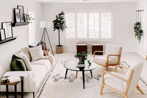 Bright white living room.