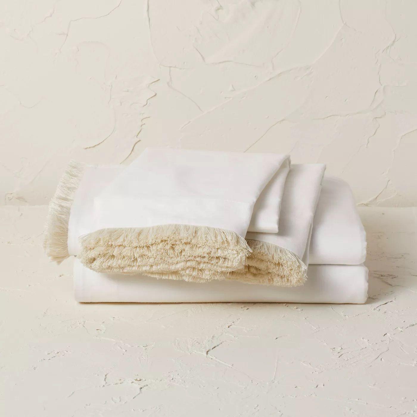Fringe Cotton Percale Sheet Set