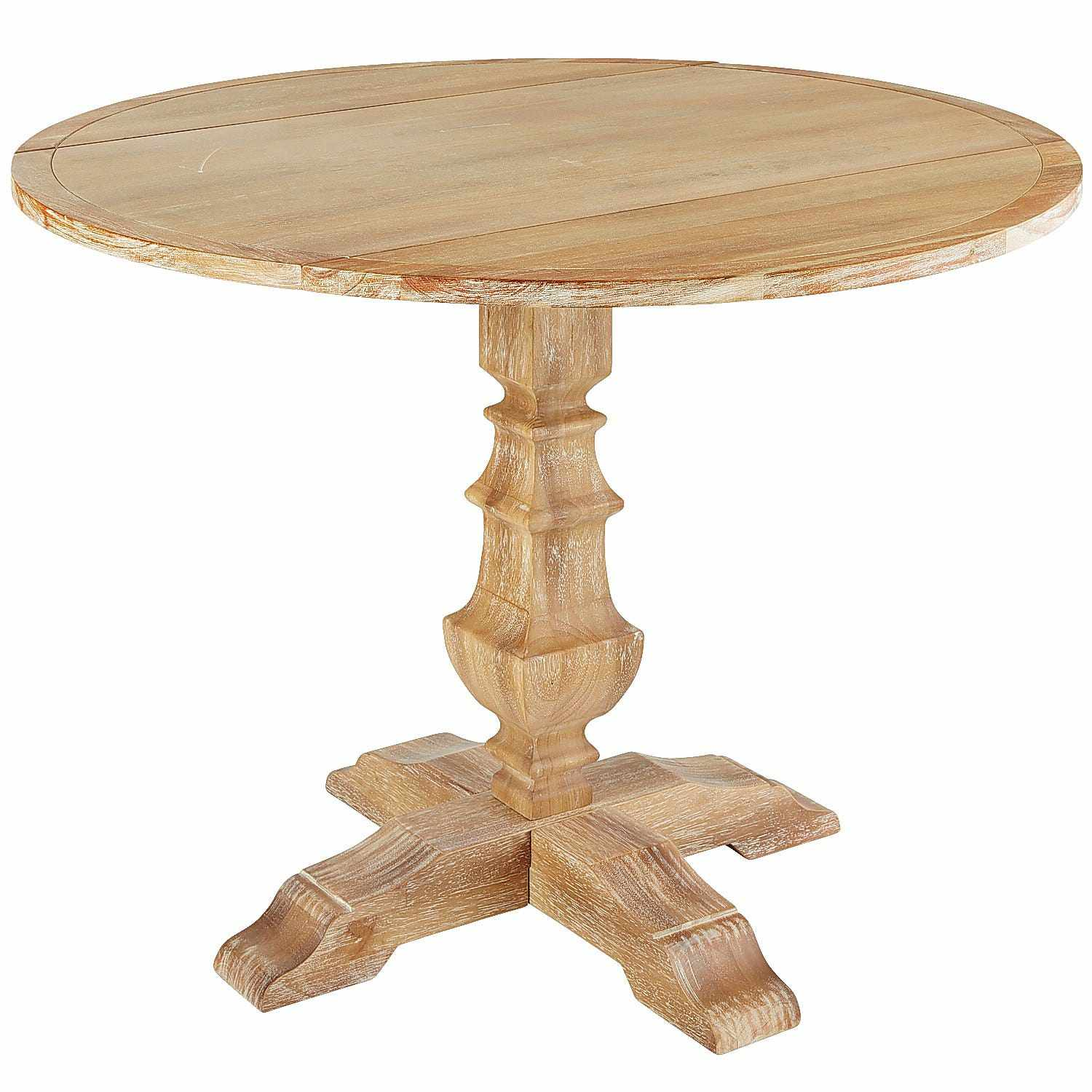A round wood drop-leaf dining table with a carved, urn-style base and four splayed legs.
