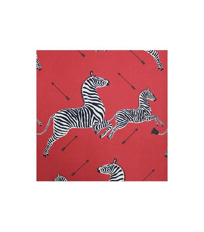 Papel pintado rojo, negro y blanco con estampado de cebra