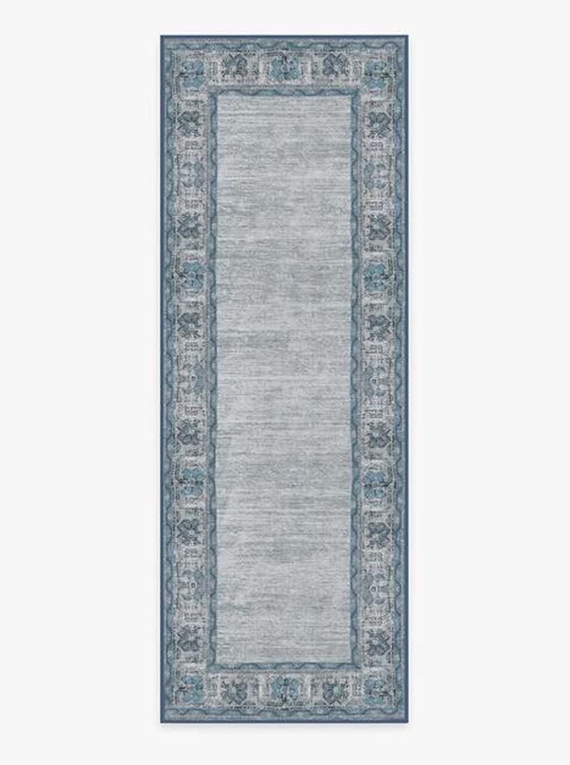 A blue printed rug, currently for sale at Ruggable