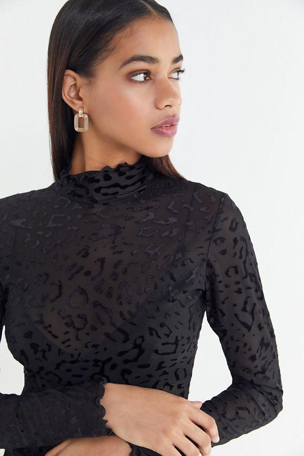 Leopard Print Velvet Mock-Neck Top
