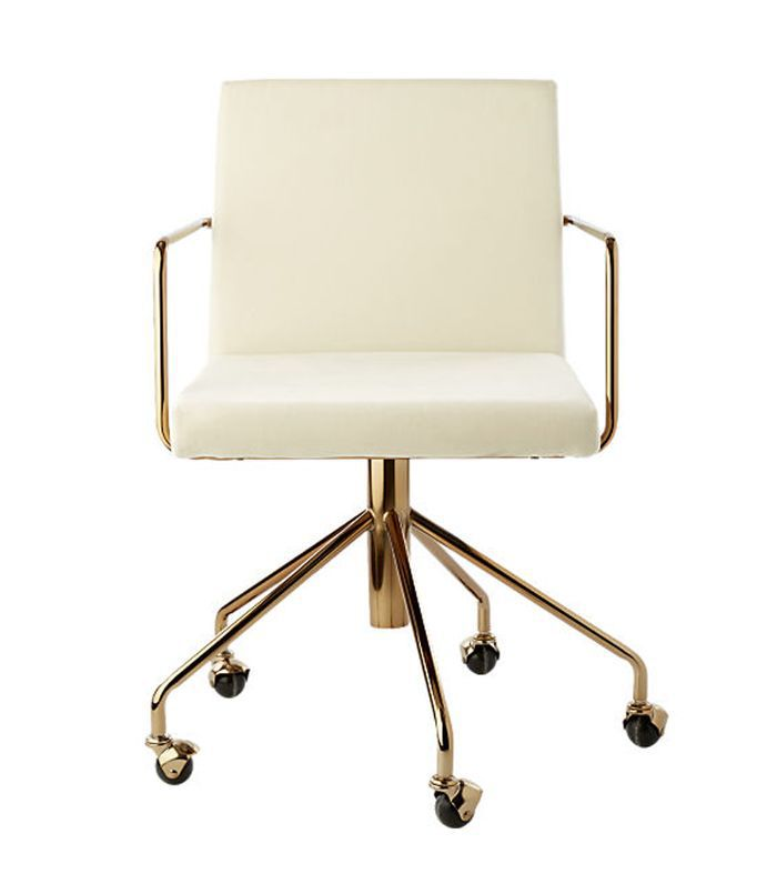 Rouka White Velvet Office Chair