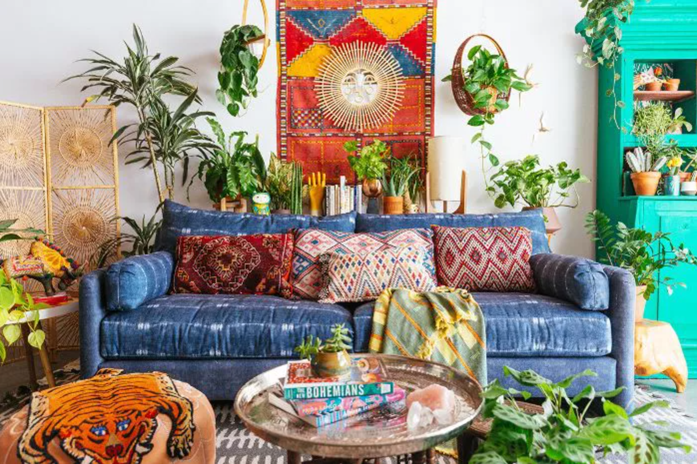 Bohemian living room with colorful décor