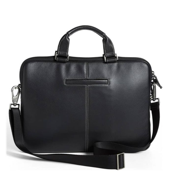'Tyler' Leather Laptop Briefcase - Brown
