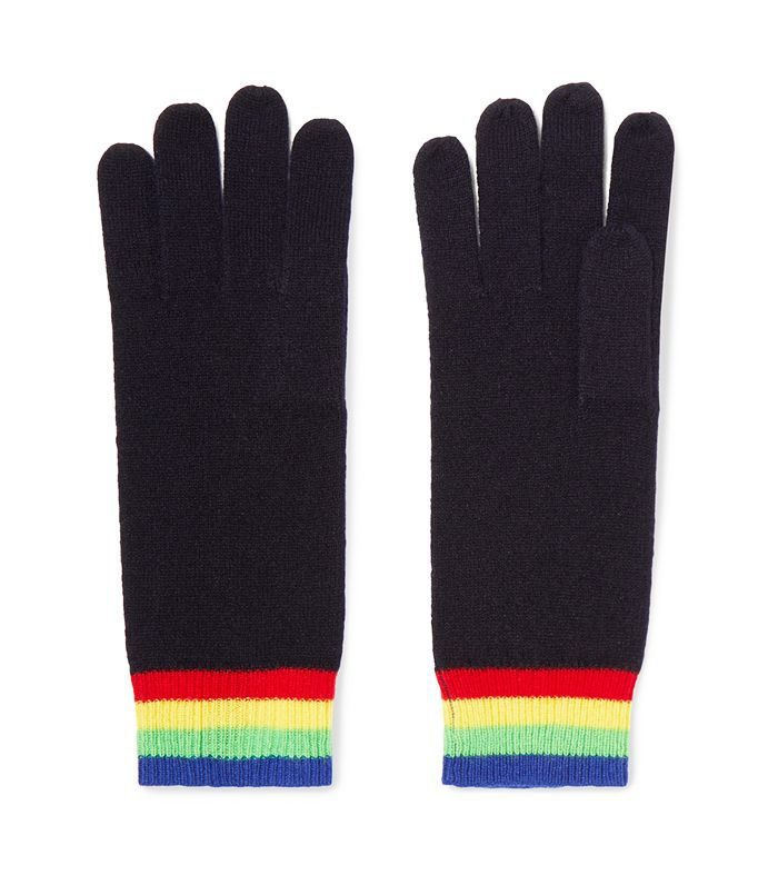 Elba Striped Cashmere Gloves