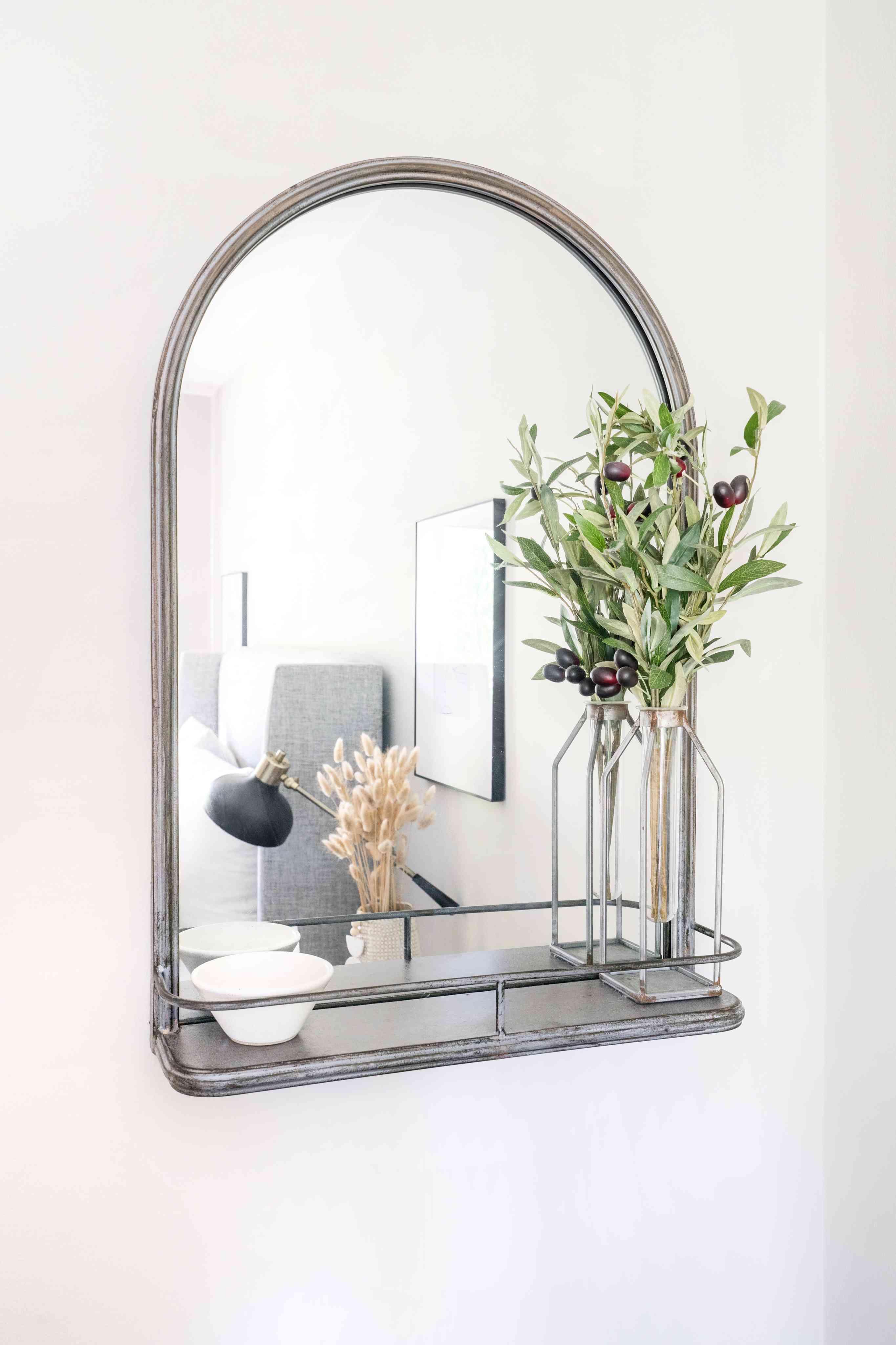 alisha agrellas home tour - bedroom mirror with storage
