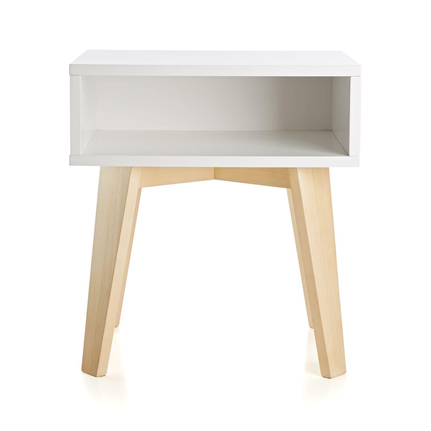 Mesa auxiliar simple blanca y natural