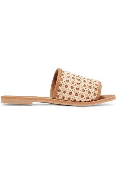 Henni Leather And Rattan Slides