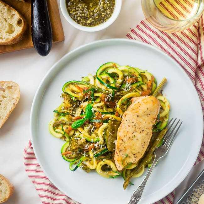slow cooker italian chicken with zoodles