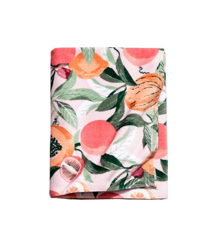 - Patterned Bath Towel - Pink - H & m Home