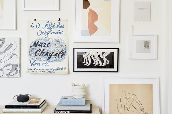 small space living room gallery wall