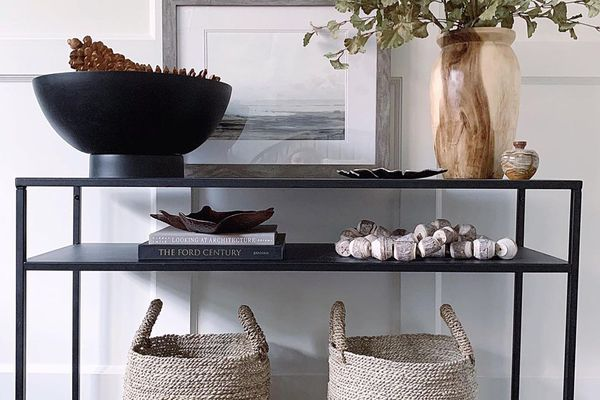 entryway with storage baskets
