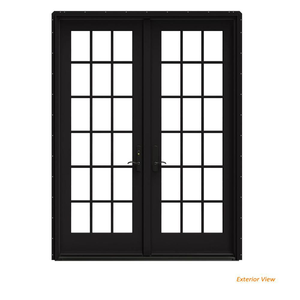 black frame double French door
