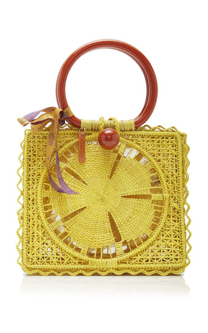 Silvia Tcherassi Small Caimile Iraca Palm Handbag