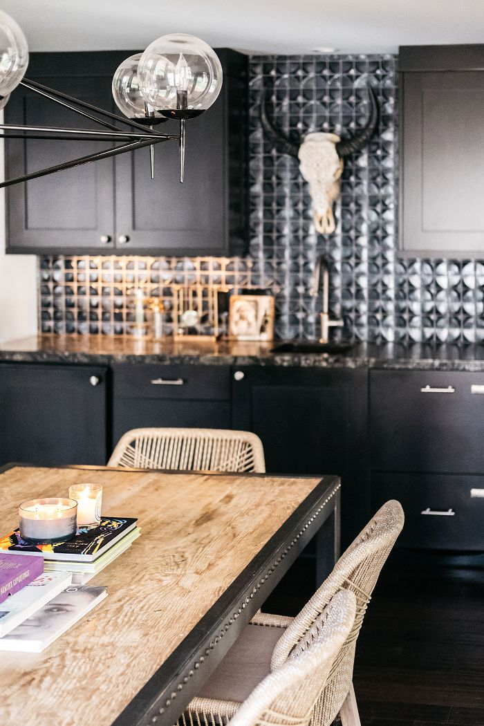 Trish and Billy Ray Cyrus—black kitchen