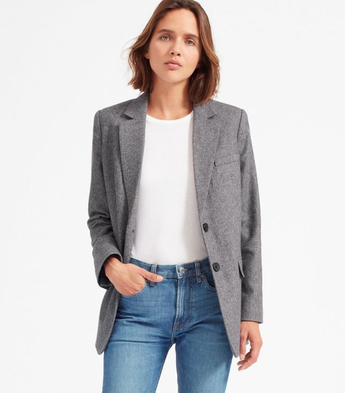 Women's Oversized Blazer by Everlane in Grey Herringbone, Size 6