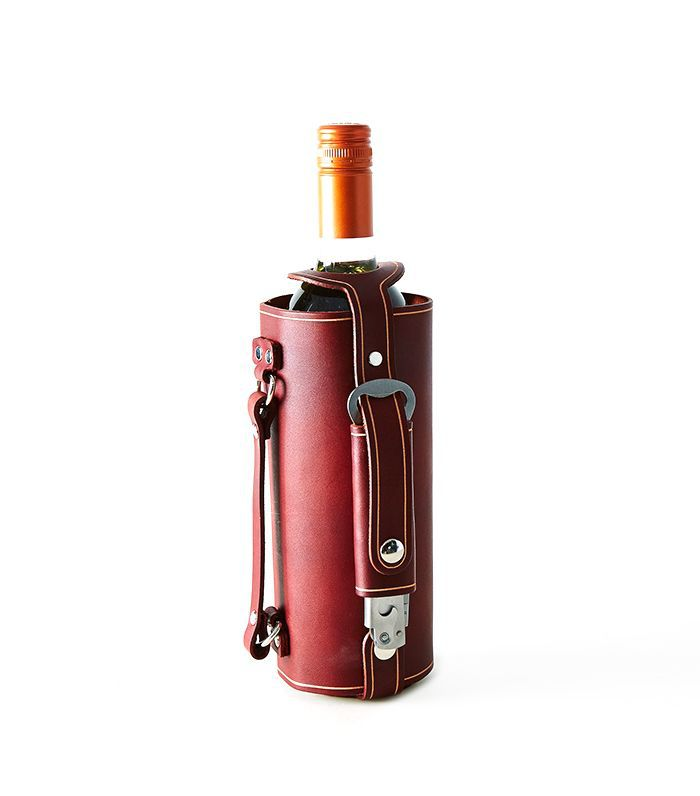 Pedal Happy Leather-Handled Wine Carrier