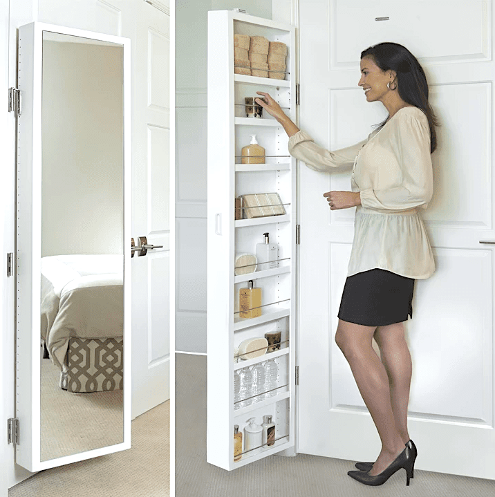A split image of a mirrored medicine cabinet behind a door on the left and a woman reaching into its hidden shelving on the right.