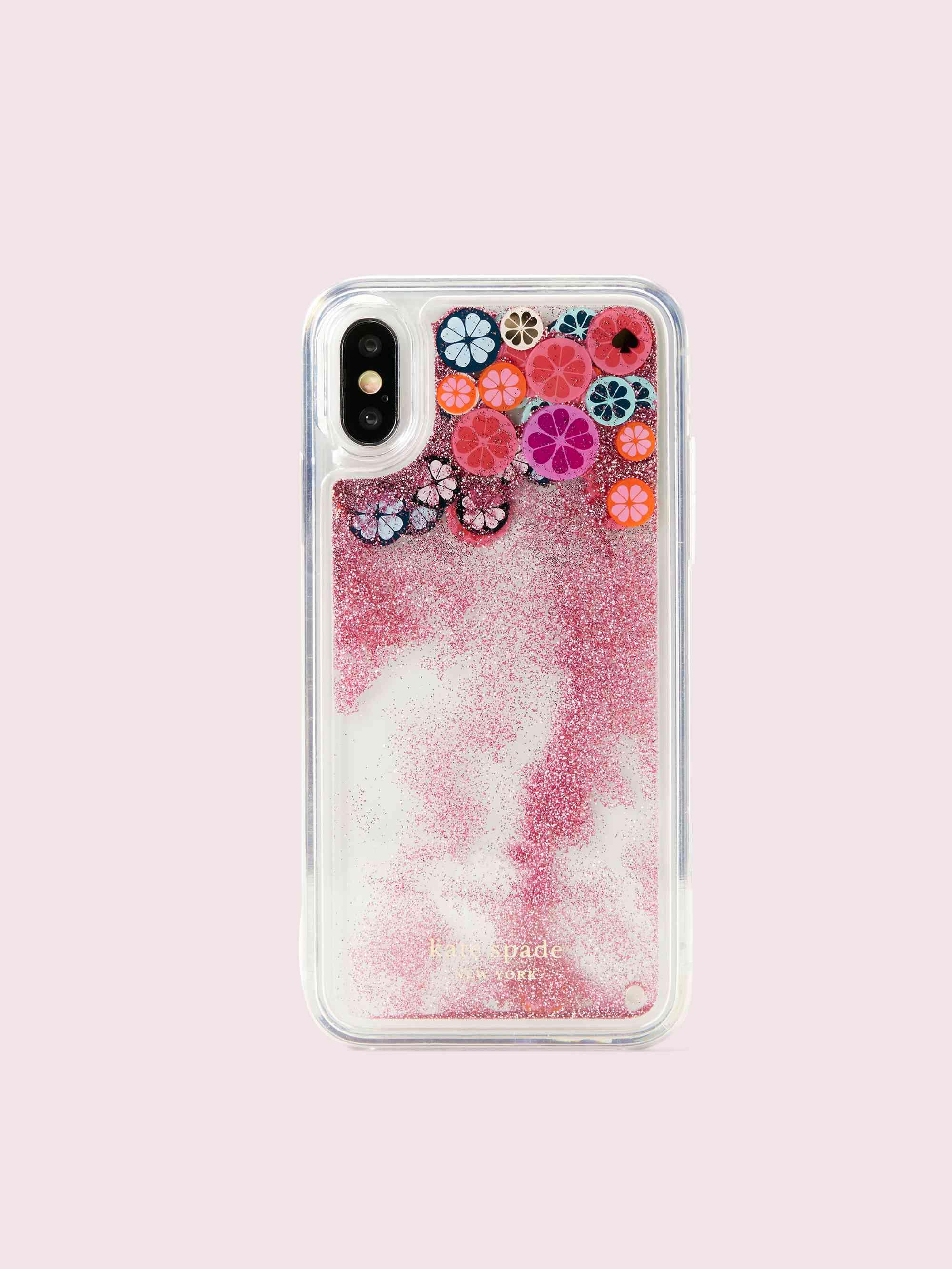 spade flower liquid glitter iPhone