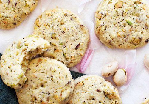 Rose Water Pistachio Shortbread Cookies