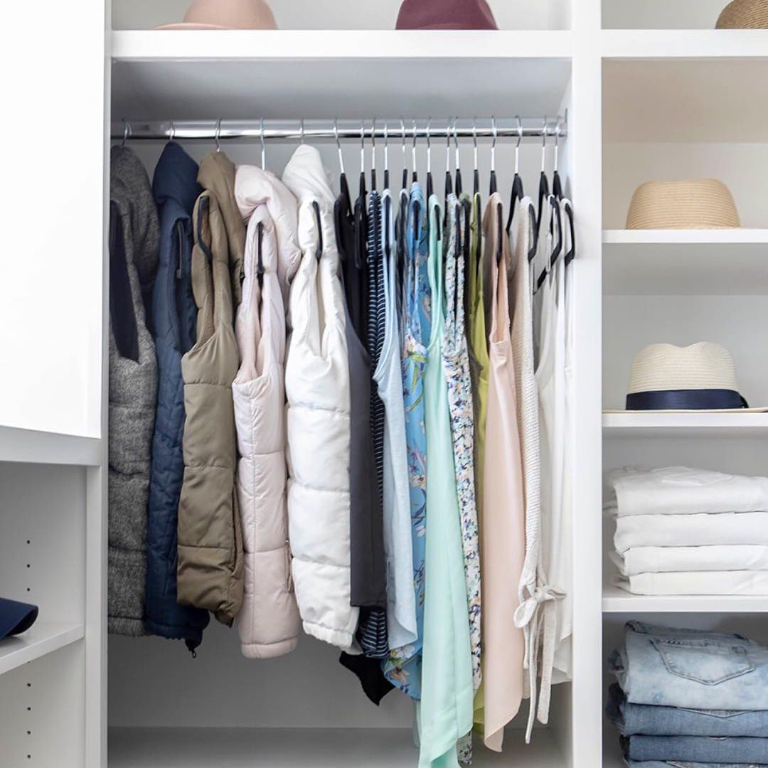 Closet with shelves to the ceiling