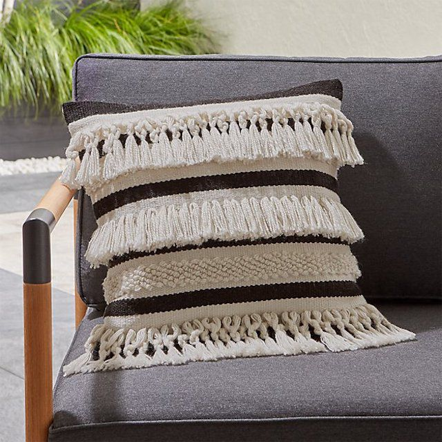 Crate & Barrel Mohave Fringe Outdoor Pillow