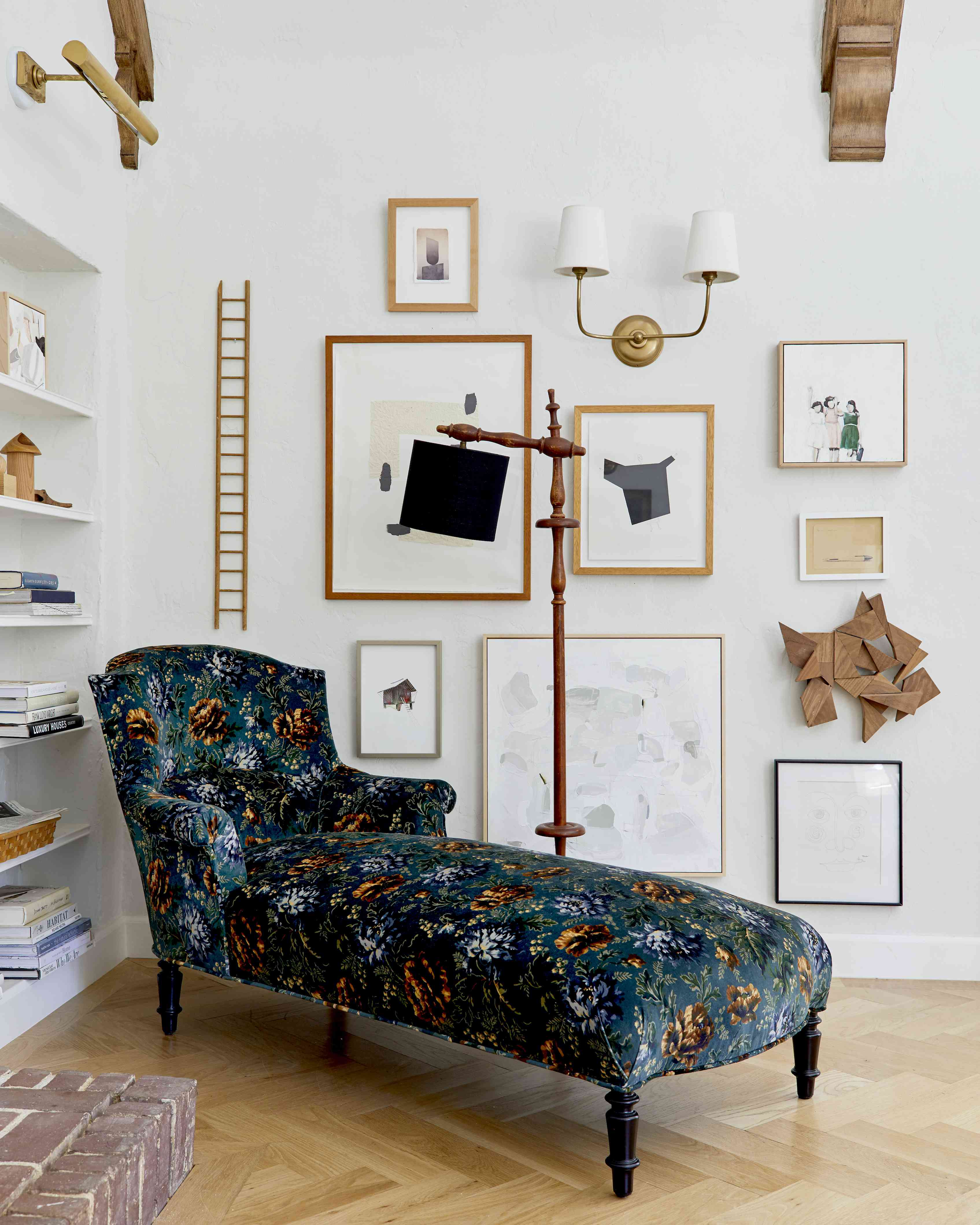 Living room corner gallery wall with textural elements