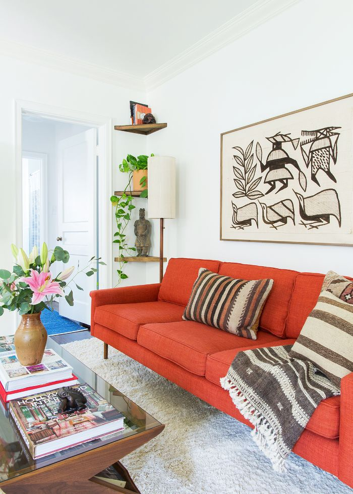 Plant-filled, colorful living room