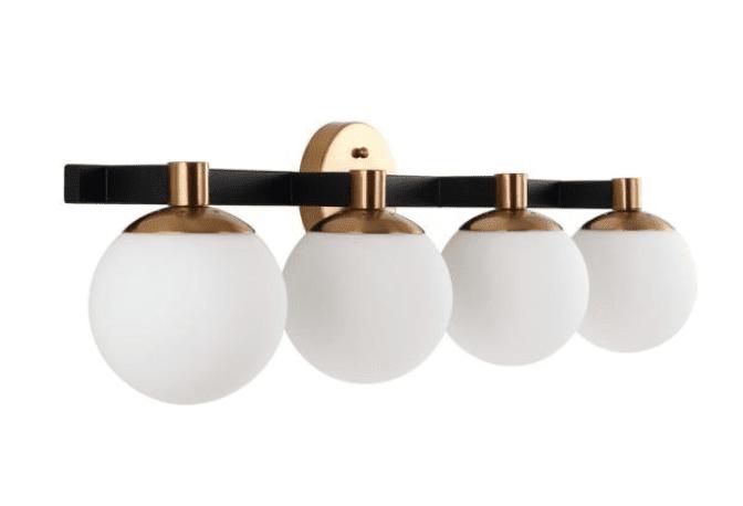 Modernist Globe 34 in. 4-Light Brass Gold/Black