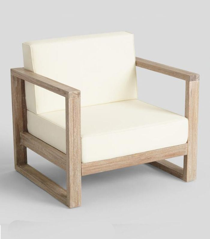Whitewash Sevilla Outdoor Patio Occasional Armchair: Natural - Wood by World Market