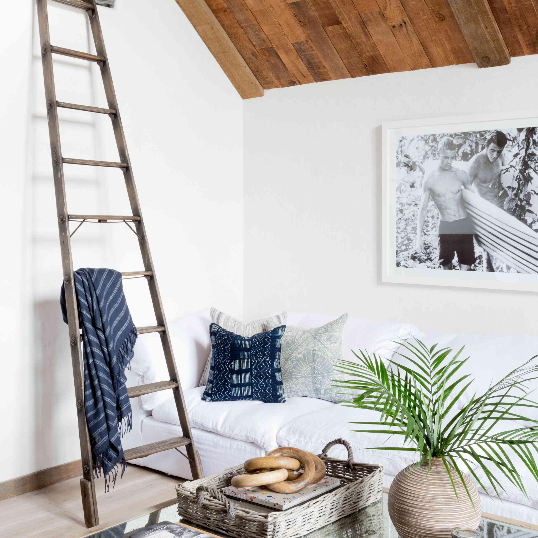 living room with vintage ladder