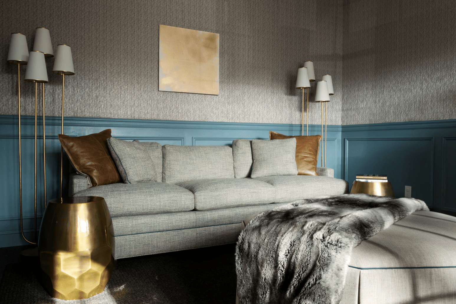 best living room ideas - blue wainscoting and wallpaper