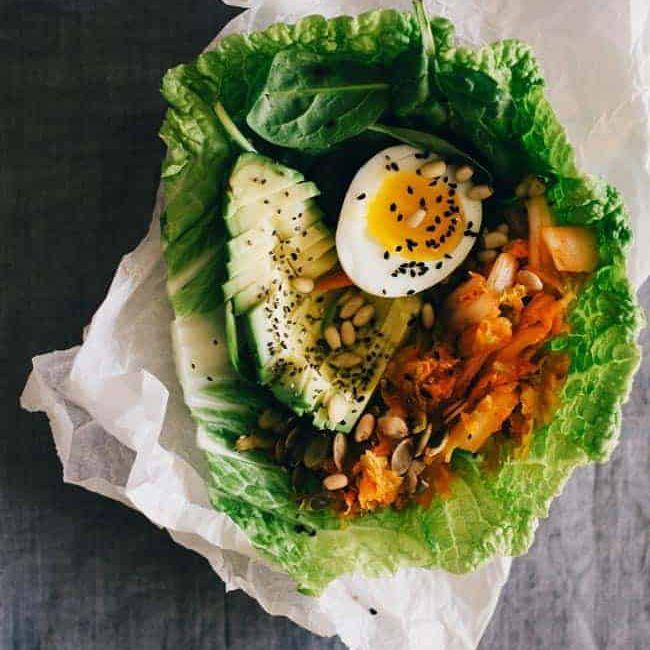 wrap de almuerzo de kimchi