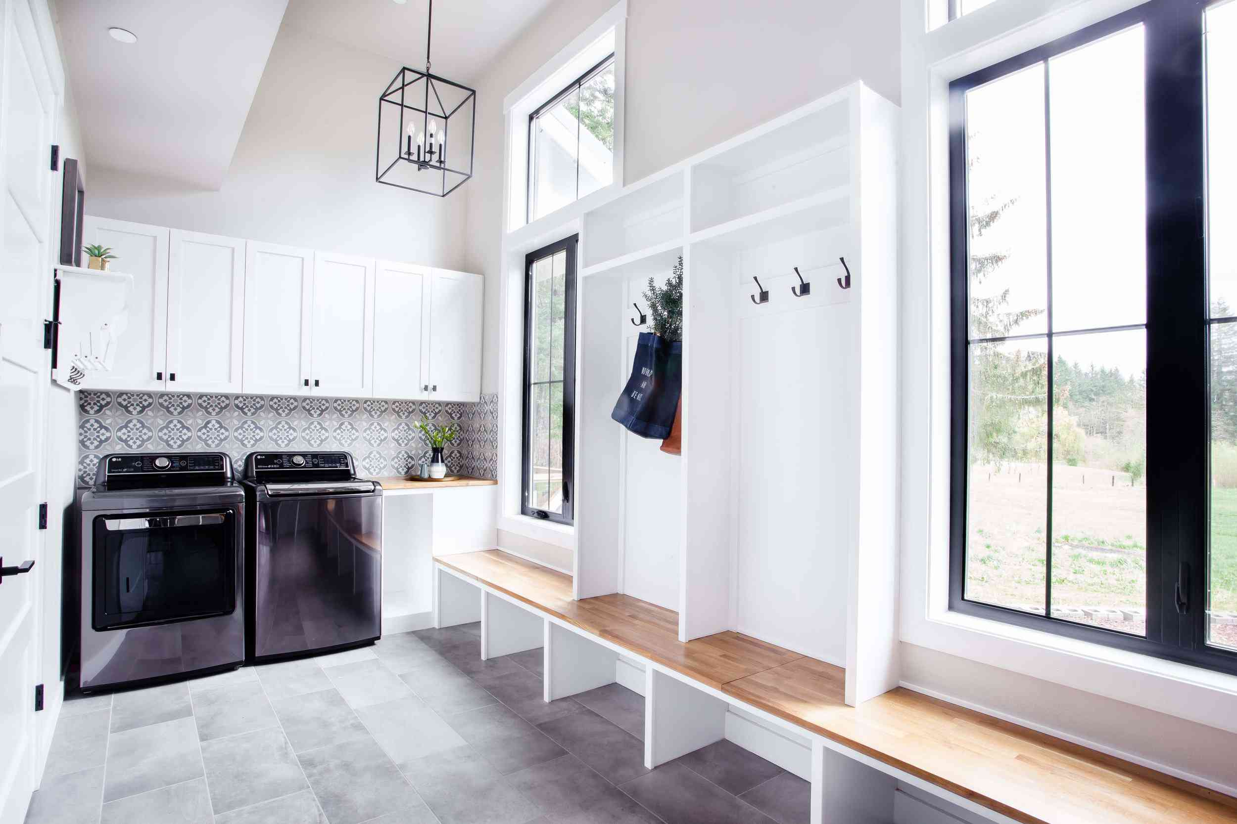 Mudroom and laundry room combined