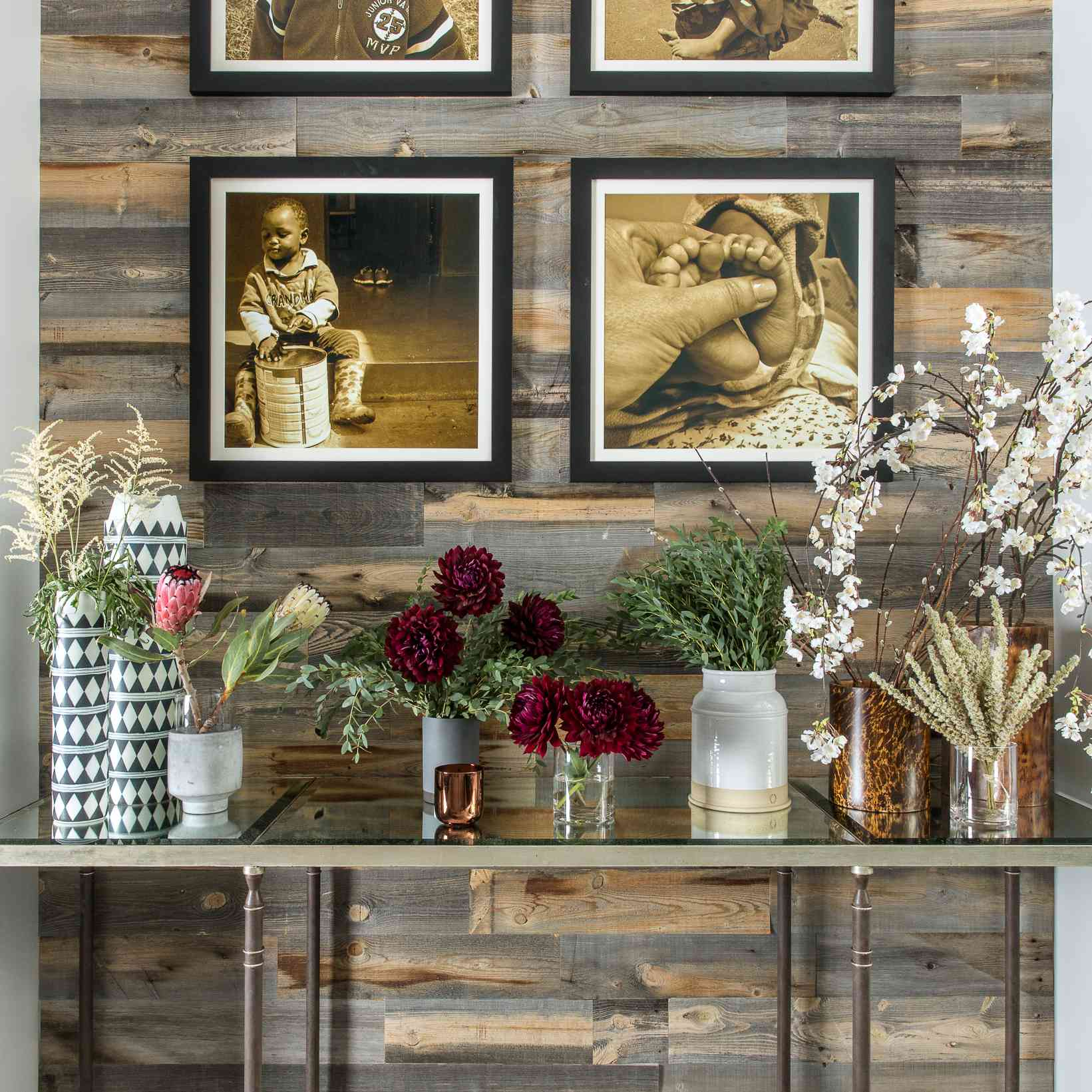 Peel and stick reclaimed wood wallpaper.