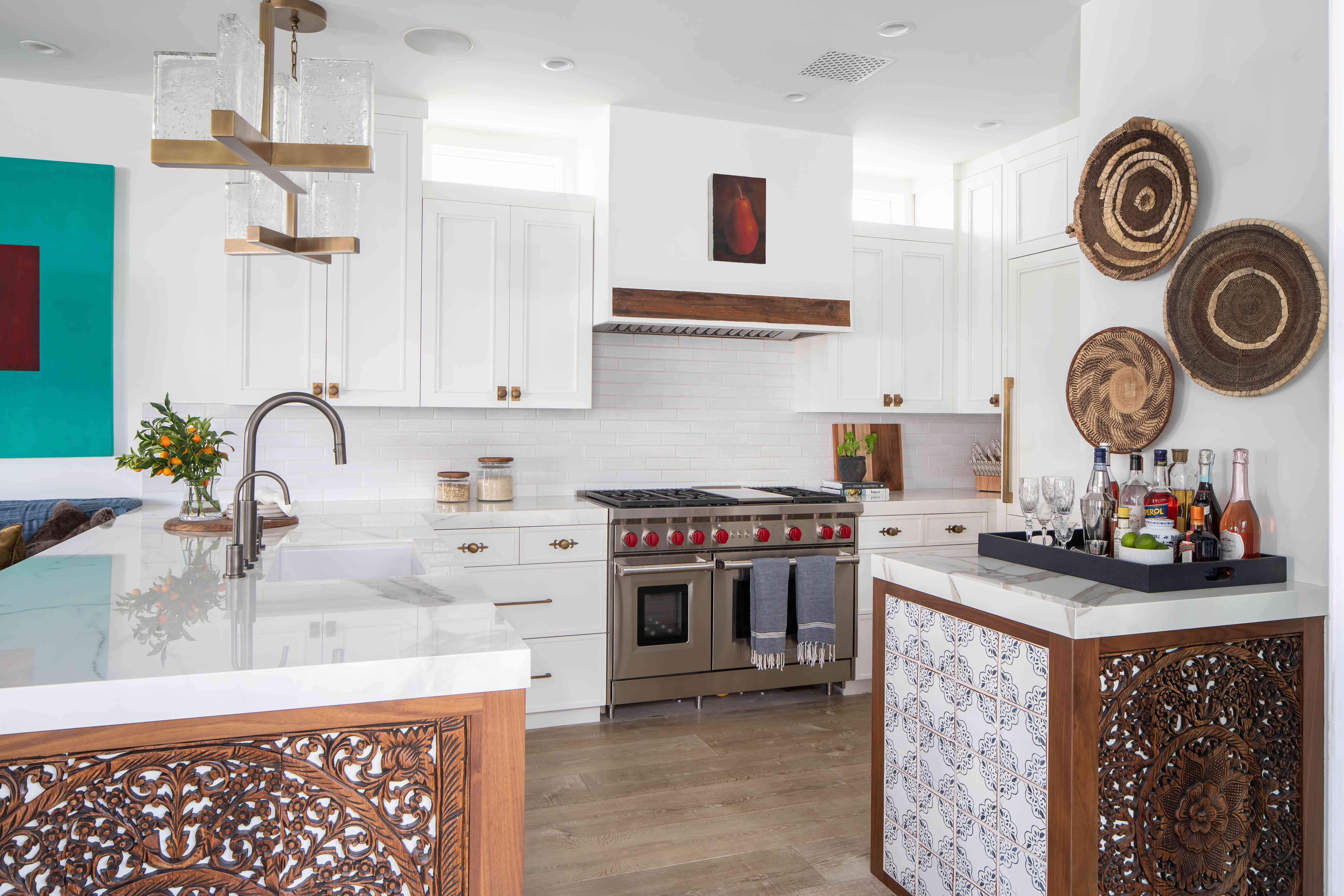 Kitchen with boho baskets on the wall.