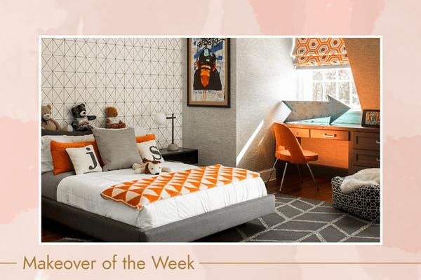 Bright gray and orange kids' bedroom.