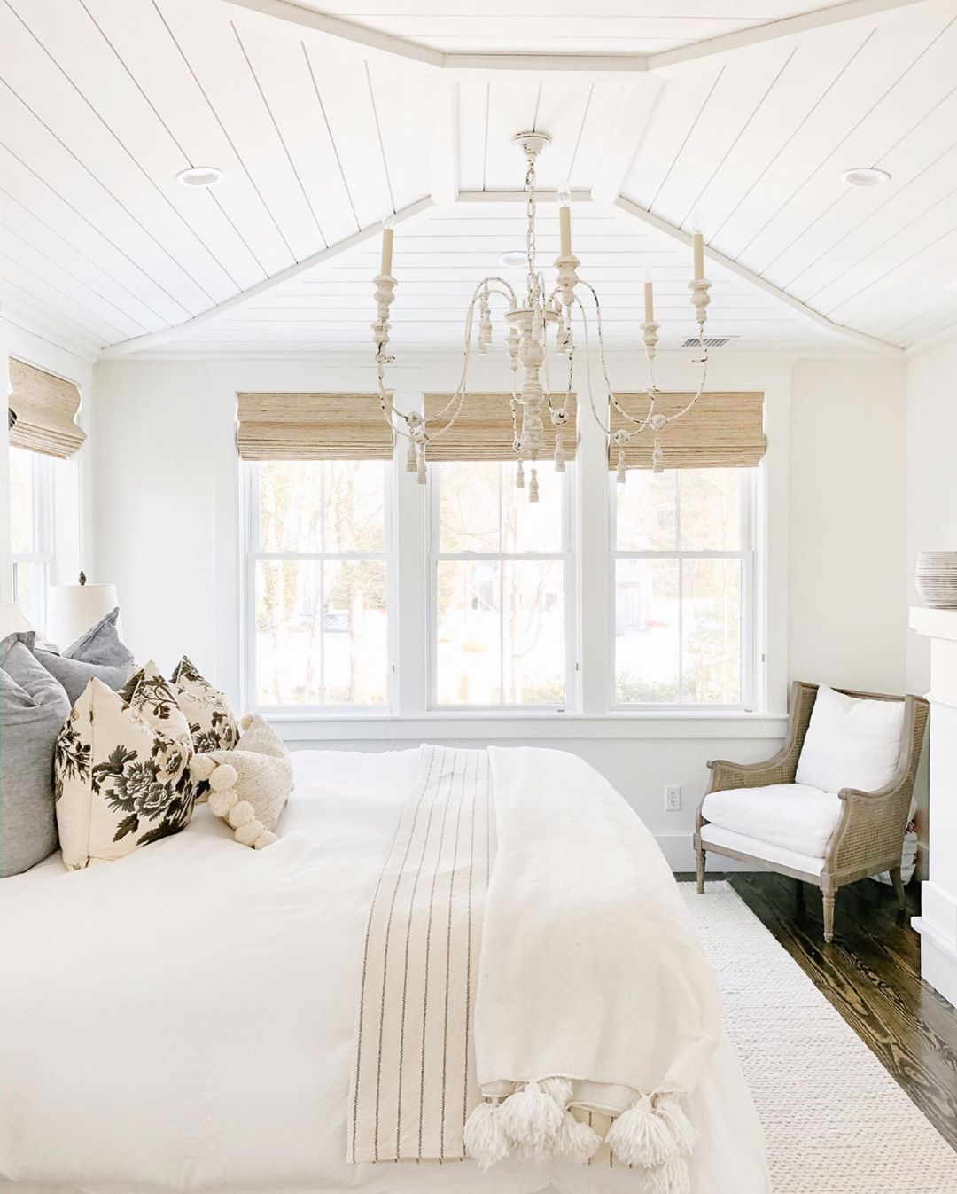 Bedroom with white and tan color palette