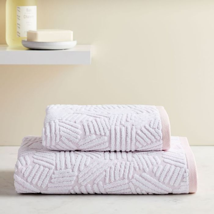 West Elm Organic Dashed Lines Sculpted Towels, Pink Blush—Bathroom Color Trends