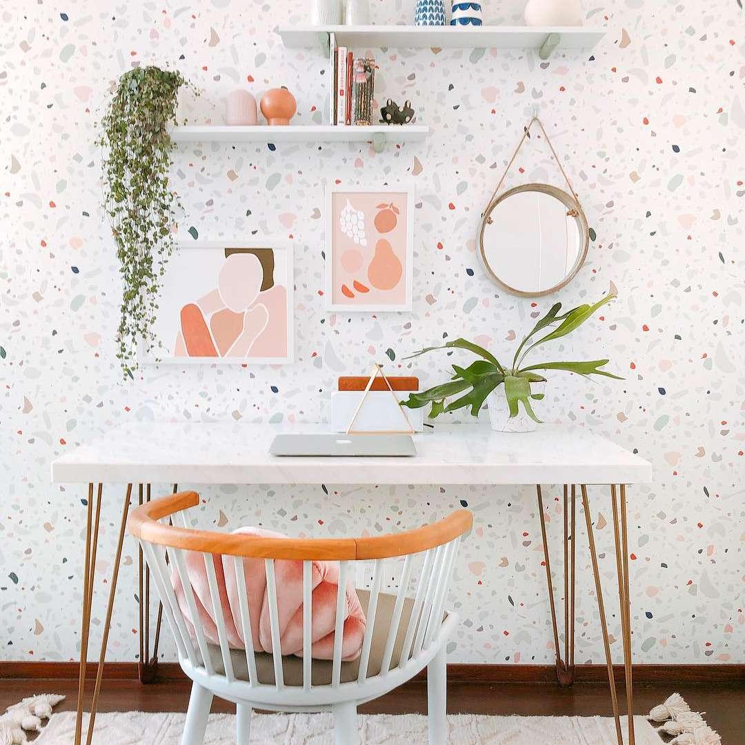 Terrazzo wallpaper and desk