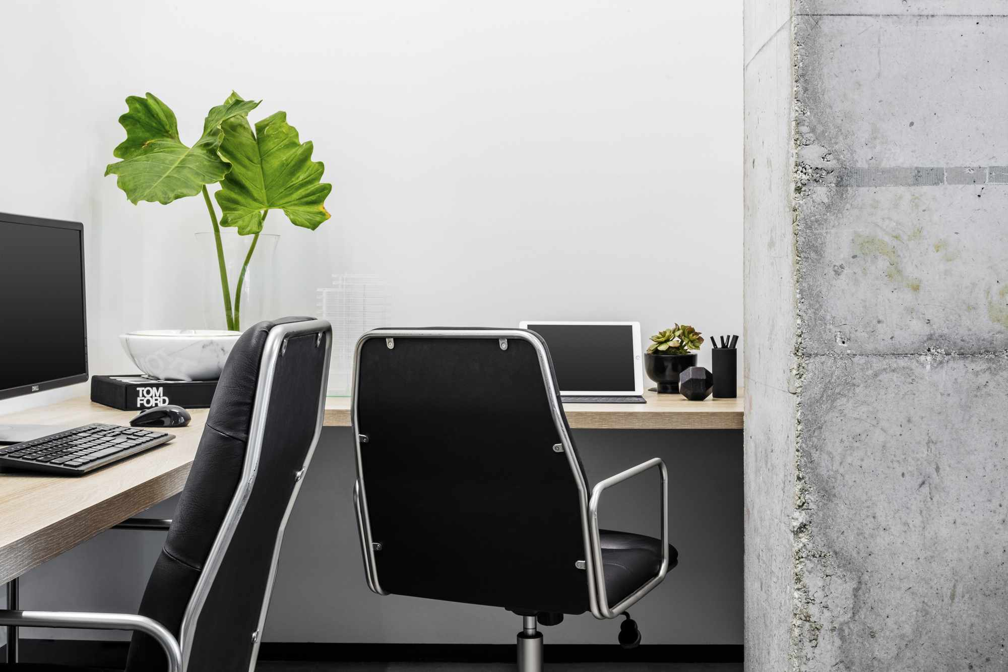 A home office adorned with color-coordinated black decor and a plant
