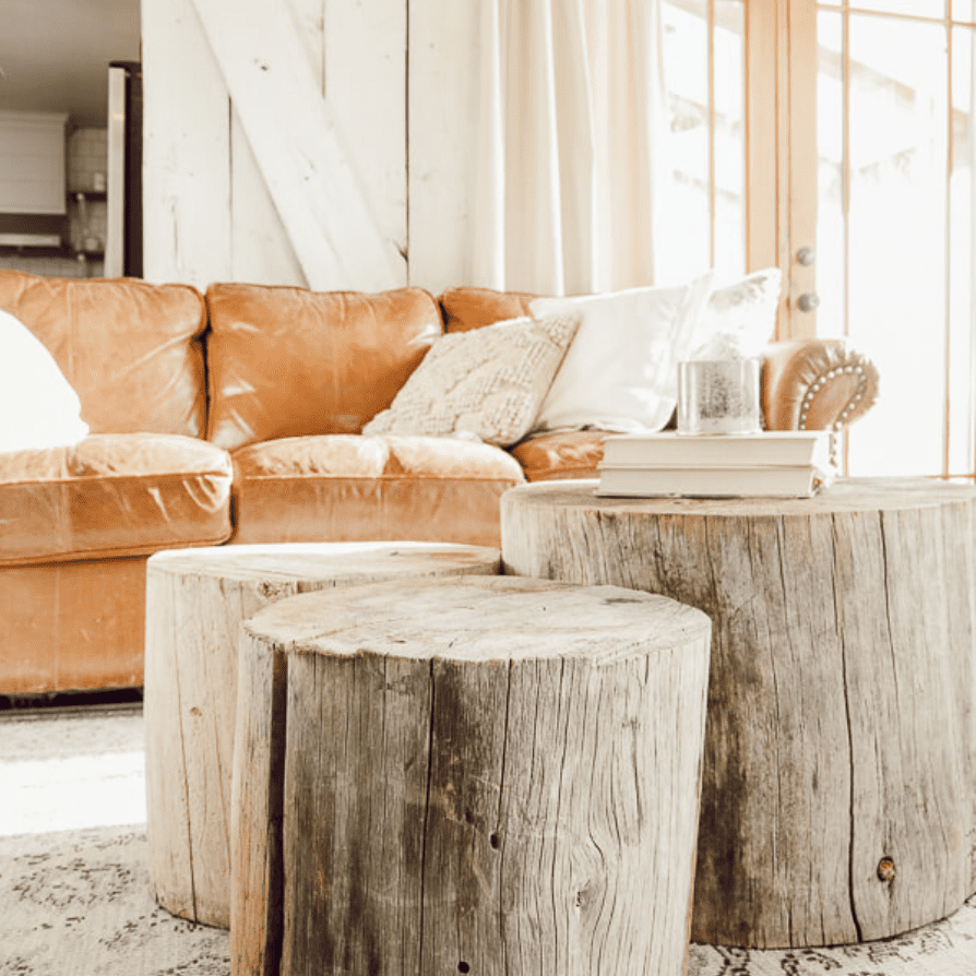 Three tree stumps as coffee table in farmhouse-chic living room