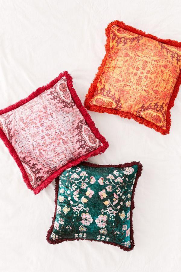 Printed Velvet Fringe Throw Pillow