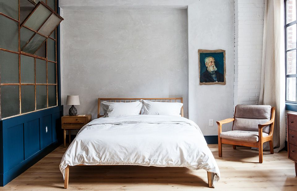 Bed in loft type area