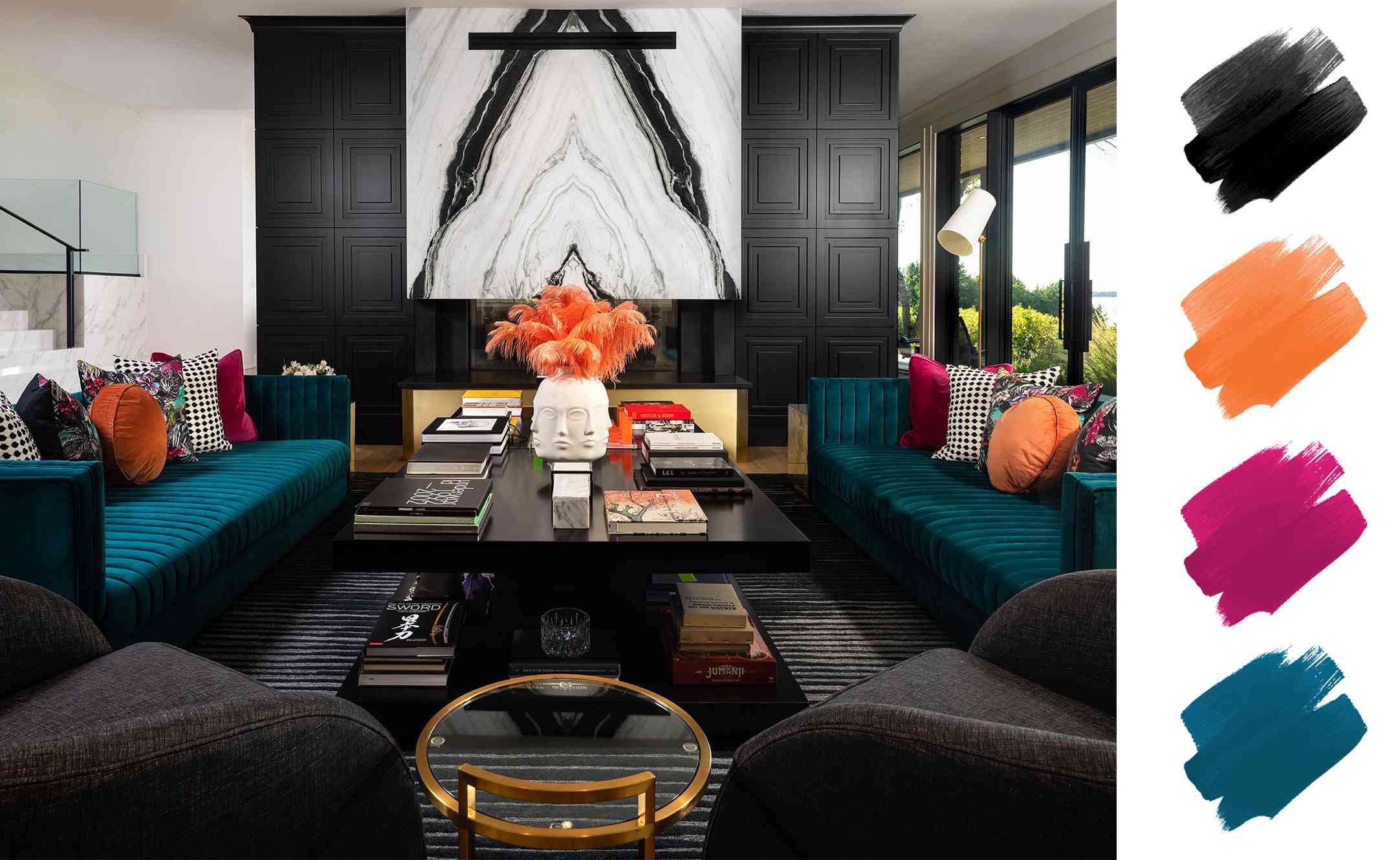 complementary color schemes - bold living room with peacock, citron, and fuchsia accents