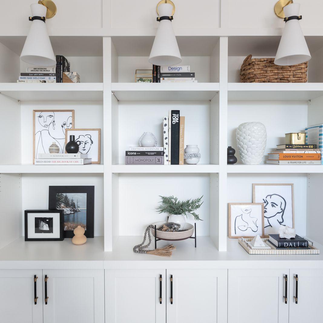 Reena Sotropa white built in bookshelf.