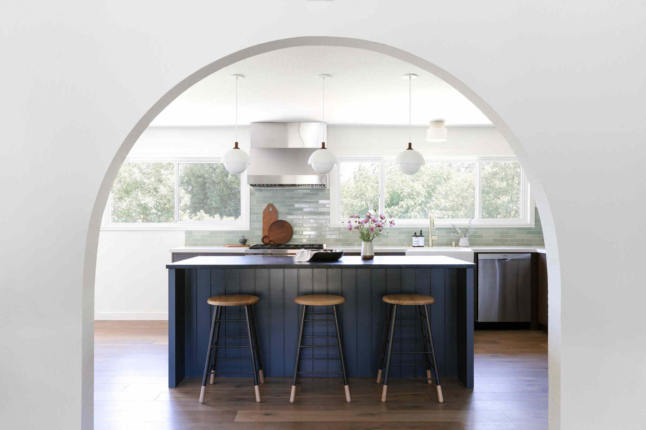 Blue wood panelling kitchen island