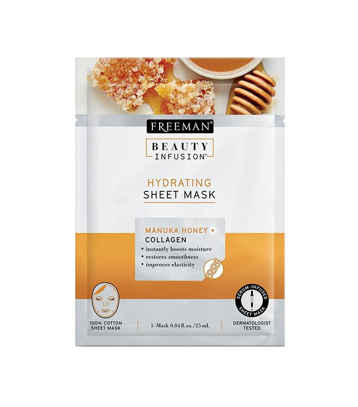 A sheet mask in a gray and yellow tear-top packet.