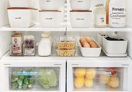 Fridge with organized bins